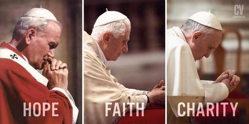JPII-Benedict-Francis-Faith-Hope-Love